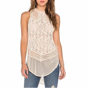 Free People tea mesh crochet Turtleneck Shell tank